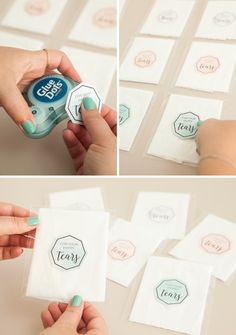 """Using individual tissues, treat bags and our free printable labels - you can make the most darling little """"happy tears"""" favors for your wedding guests!"""