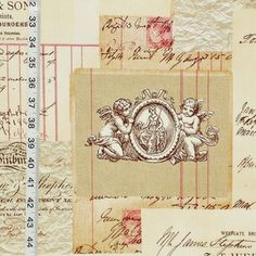Angel toile fabric French document script pink - An angel toile fabric with French and English document script.