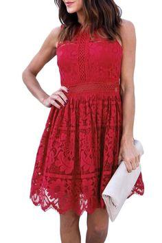 Burgundy Crochet Lace Prom Dress