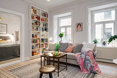 Charming apartment with intriguing layout in Gothenburg, Sweden Living Etc, Living Area, Living Spaces, Living Room Interior, Home Living Room, Colourful Living Room, Light Grey Walls, Swedish House, Layout