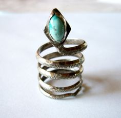1970's Sterling Silver and Turquoise Spiral Snake by 20thObsession, $125.00