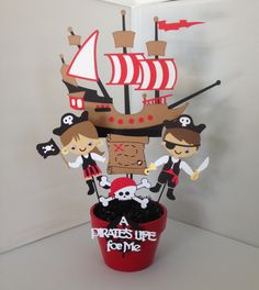 Pirate Party Decorations, Pirate Birthday Centerpiece, Party decorations, Pirate cupcake toppers and wrappers, Pirate party favor