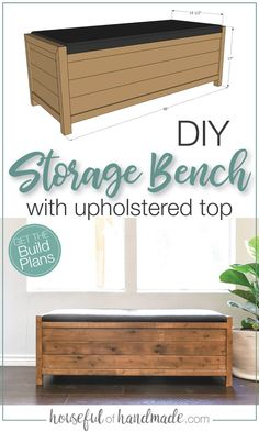 Create storage for shoes, blankets, games and more with this DIY storage bench. The top of the bench is upholstered for a comfortable place to sit and put on your shoes, or you can use it as an upholstered coffee table with storage. Free build plans from Housefulofhandmade.com. #DIY #WoodWorking #StorageBench Bench With Shoe Storage, Upholstered Storage Bench, Built In Bench, Coffee Table With Storage, Diy Furniture Plans, Diy Furniture Projects, Handmade Furniture, Home Furniture, Diy Projects