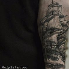 Ship Sailing in the Sea Realistic tattoo