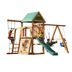 """The Big Horn No-Cut Play Set, Ready-to-Assemble swing set includes pre-cut, premium lumber.  Just add (8) 4""""x4""""x8's and (1) 4""""x4""""x10' to build playset."""