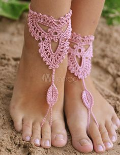Bordare Sexy rosa all'uncinetto sandali a piedi nudi di donne - Milanoo.com