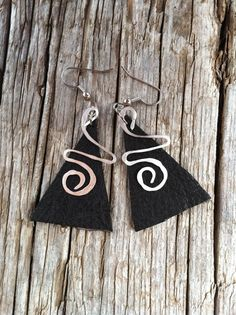 leather and hammered wire earrings