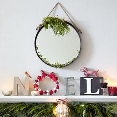 House to Home Rustic holiday NOEL letters and mirror over fireplace Christmas Love, Rustic Christmas, All Things Christmas, Christmas Lights, Christmas Ideas, Nordic Christmas Decorations, Seasonal Decor, Holiday Decor, Christmas Living Rooms