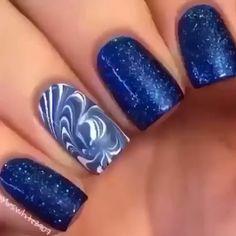 Gorgeous Water Marble Nail Art Designs Ideas Youll Want o Try This Season Star Nail Art, Star Nails, New Year's Nails, Cool Nail Art, Blue Nail Designs, Best Nail Art Designs, Acrylic Nail Designs, Acrylic Nails, Firework Nails