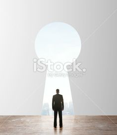 businessman looking to keyhole Royalty Free Stock Photo