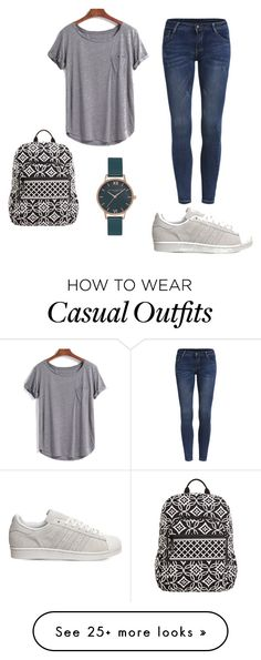 """Casual #1"" by ishialmighty on Polyvore featuring adidas, Vera Bradley, Olivia Burton and school"