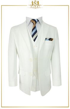 This is a handsome cream suit for boys that is perfect for many different formal events. A boys suit like this is for the most lavish events and it comes with a fully lined jacket with peak lapels as well as a waistcoat with matching trousers. Shop now at SIRRI kids #suits for boys for #wedding #communion online...Elegant fashion for children and men. #fashion #shopping