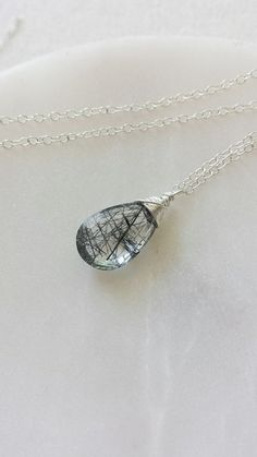 Tourmilated Quartz Necklace , Black Tourmilated Quartz Necklace, Black Rutilated  Quartz, Sterling Silver Necklace, Sterling Silver Jewelry