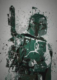 """""""Bounty Hunter"""" #Mancave Material Splatter effect artwork inspired by #BobbaFett from #StarWars"""