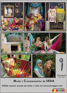 Moda y complementos de seda JULUNGGUL fulares, chaquetas, kimonos, vestidos, blusones, pantalones....Hecho en España con Seda www.julunggul.com Silk accessories and fashion Made in Spain