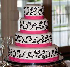 Pink and Black Wedding Cake | Flickr - Photo Sharing!