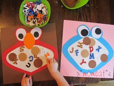 Letter Monsters meet Sesame Street! Inspired by www.notimeforflashcards.com #noflashcards #letters #toddlercraft