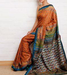 Orange Handwoven Silk Saree with Kantha Work: Weavers Studio