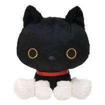 black Kutusita Nyanko cat with collar plush toy