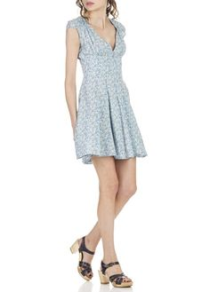 Robe courte patineuse fendue dos Bleu by DENIM AND SUPPLY BY RALPH LAUREN
