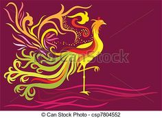 Stock Illustration - Fantasy phoenix - stock illustration, royalty free illustrations, stock clip art icon, stock clipart icons, logo, line art, pictures, graphic, graphics, drawing, drawings, artwork