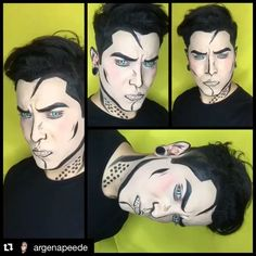 Mehron Boy @argenapeede at it again with his iconic makeup designs using Mehron's Black and White Paradise Makeuo AQ!!!! #PopArt #MehronMakeup #MehronBoy #ParadiseMakeupAQ #ExtremeBeauty #FaceArt #MehronFace #FacePaint #Paradise #