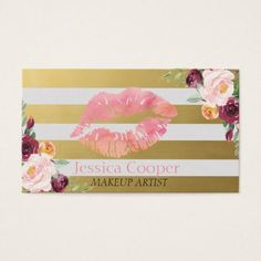Modern Gold Stripe Floral Lips Business Card - modern gifts cyo gift ideas personalize