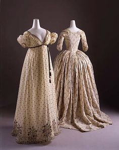 Dress (Robe à l'Anglaise). Date: 1784–87. Culture: French. Medium: cotton, metal, silk. Dimensions: Length at CB (a): 63 in. (160 cm). Length at CB (b): 36 in. (91.4 cm).
