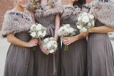 Classy winter bridesmaids. Love the neutral colour scheme!