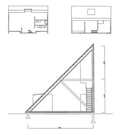 Prism House by Kazuo Shinohara Roof Architecture, Architecture Drawings, Bothy, Architectural Section, Minimal Home, Building Systems, Construction Design, Master Plan, Planer