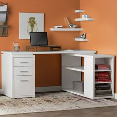 DIY Corner Desk Design Idea For Your Home Office. Browse photos of custom corner desk. Find ideas and inspiration for custom corner desk to add to your own home. Home Office Desks, Home Office Furniture, Home Office Setup, Furniture Nyc, Office Style, Furniture Stores, Cheap Furniture, Discount Furniture, Furniture Design