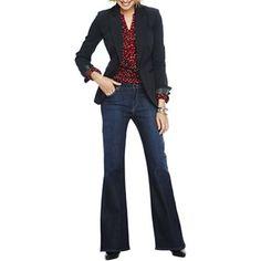 Liz Claiborne Suit Jacket, Necklace, Print Top or Jeans - jcpenney