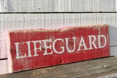 Lifeguard Sign Rustic Reclaimed Wood Coastal Beach Decor Surf Theme. All Our Signs Are Hand Painted