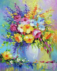 Bouquet of summer flowers Oil painting by Olha Darchuk Lily Painting, Acrylic Painting Flowers, Abstract Flowers, Flower Artists, Bright Paintings, Flower Canvas, Arte Floral, Summer Flowers, Lovers Art