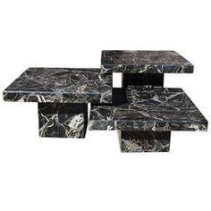 Set of Three Black Italian Marble Pedestal Coffee Tables