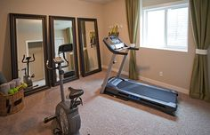 Transitional Home Gym with Carpet