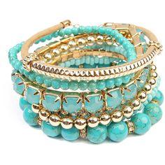 Riah Fashion Teal & Goldtone Stretch Bracelet Set ($5.99) ❤ liked on Polyvore featuring jewelry, bracelets, stacking bracelet sets, boho bangles, boho chic jewelry, beaded jewelry and bohemian jewelry