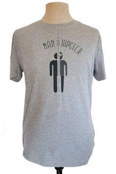 Half Man Half Hipster t-shirt, heather grey with a black print, eco friendly, fair wear, by Poor Edward