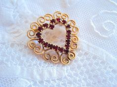 vintage Heart Brooch Pin