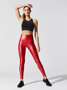 Hiking Discover High Waisted Takara Leggings in Carbon Red High Waisted Takara Leggings in Carbon Red Sexy Leggings Outfit, Leather Pants Outfit, Shiny Leggings, Leather Dresses, Tight Leggings, Workout Leggings, Disco Pants, Figure Poses, Workout Wear