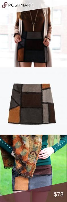 Zara || Patchwork Suede Mini Skirt NWT. Size large fits size 10. Back zipper. So gorgeous and sold out everywhere. Fully lined. Zara Skirts Mini
