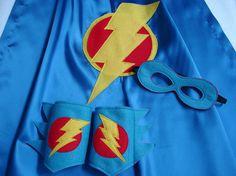 Children's Custom Superhero Lightning Bolt Cape Including Matching Mask, and Wrist Cuffs on Etsy, $41.70