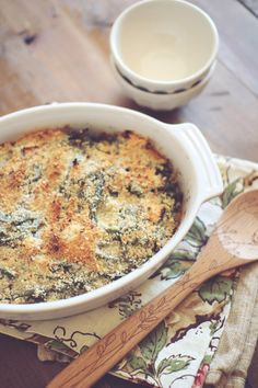Skinny Green Bean Casserole-easily converted to plant based w/ plain coconut greek yogurt and nutritional yeast