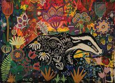 Magpie, Folk Art, Boutique, Waves, Stickers, Night, Artwork, Painting, Artist
