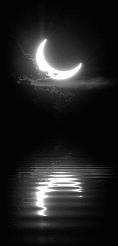 gif Black and White sky moon night edit water dark peaceful nature reflection bw darkness good night magical half moon