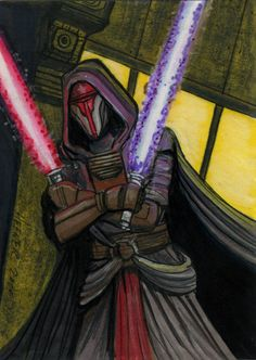 This is a Darth Revan Sketch card Darth Revan 2 Sketch Card Star Wars Kotor, Darth Bane, Star Wars The Old, Star Wars Sith, Star Wars Drawings, Star Wars Games, Star Wars Tattoo, The Old Republic, Jedi Knight