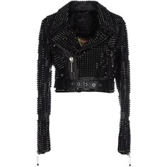 Philipp Plein Couture Jacket ($7,845) ❤ liked on Polyvore featuring outerwear, jackets, black, studded leather belt, black jacket, studded biker jacket, long sleeve jacket and black biker jacket