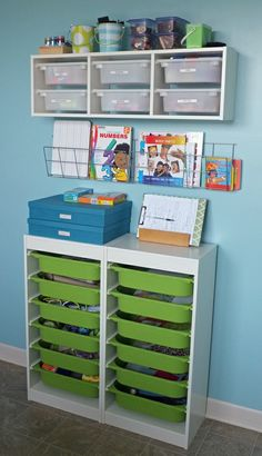 Kid's room organization. Like the green shallow bins for socks, underwear, shoes, etc. at easy reach for little ones. Add a label/picture and they can get there own things.
