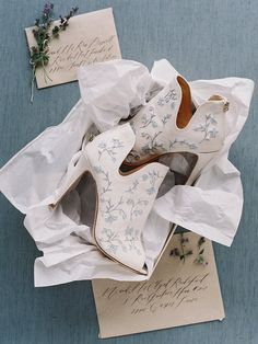 French Blue Embroidered Wedding Booties - Peony By Joy Proctor