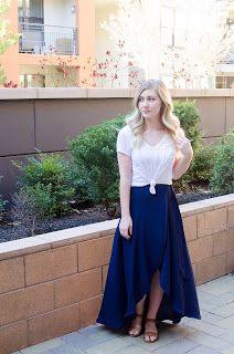 navy wrap skirt, white tee